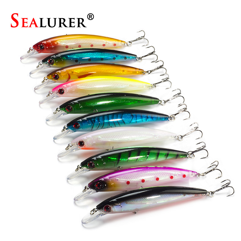 10PCS/LOT 13.5G 11CM Fishing Lure Minnow Lures Hard Bait Pesca Fishing Tackle isca artificial 10 Colors Quality Hook Swimbait tsurinoya fishing lure minnow hard bait swimbait mini fish lures crankbait fishing tackle with 2 hook 42mm 3d eyes 10 colors set