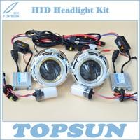 Полный комплект 3 Q5 Биксенон объектив проектора, 35 Вт Cnlight HID ксеноновая лампа D2H, балласт, крышка, оптический глаза ангела, H/L провод управлен