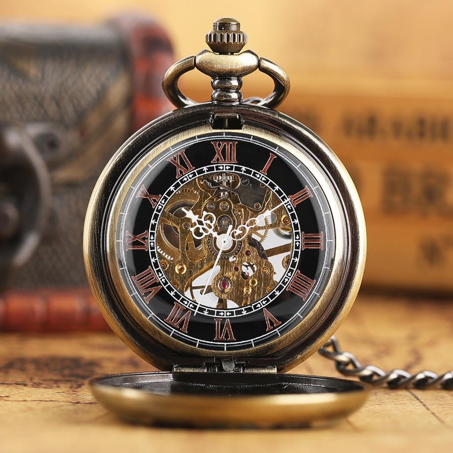 Steampunk cristal flor relógio de bolso mecânico