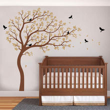 Large Tree Decal with Birds Wall Sticker Tree and Bird Decal Removable Nursery Tree Decor For Kid's Room 795T couple bird wall decal