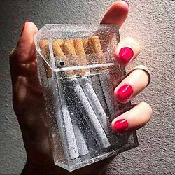 Christmas gift Cigarette Box glitter Transparent cigarette organizer Smoking Plastic card Box Portable cigarette case