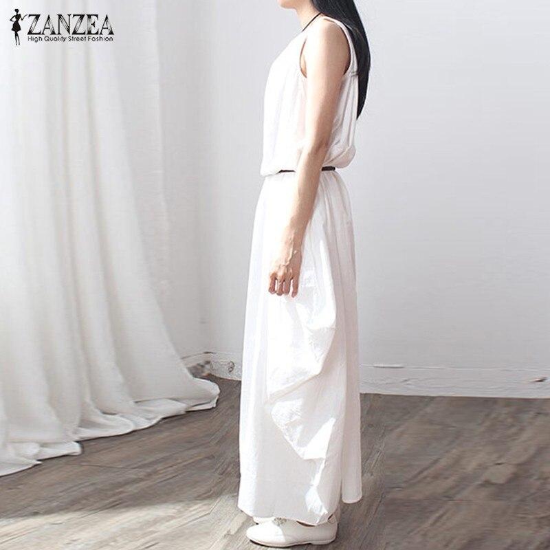 ZANZEA Summer Dress 2018 Women Sleeveless O Neck Sexy Dress Cotton Linen Long Maxi Dresses Casual Loose Retro Vestidos Plus Size 1
