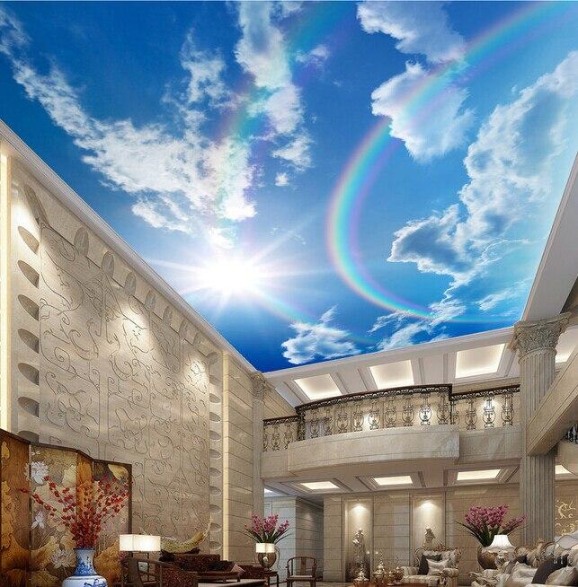 benutzerdefinierte decke tapete regenbogen blauen himmel. Black Bedroom Furniture Sets. Home Design Ideas