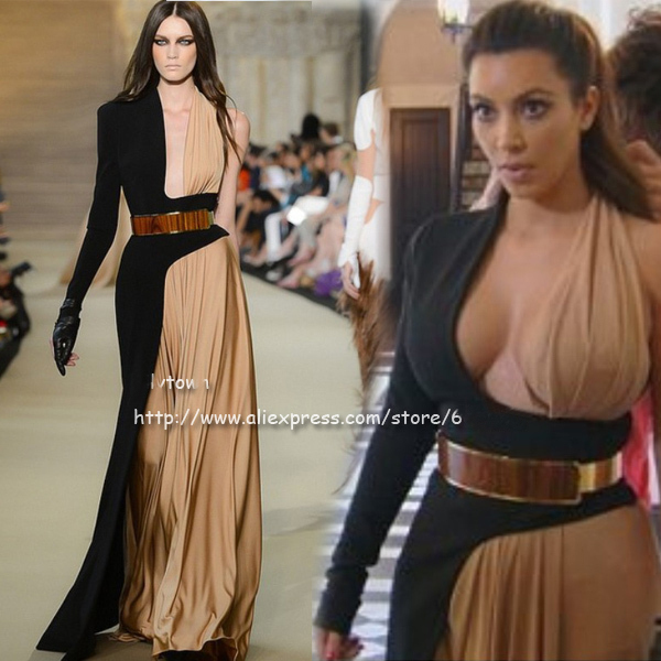 Best Ing Custom Made Kim Kardashianone Long Sleeve Gold Belt Designer Two Color Runway Celebrity Dresses