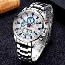 Curren relógio masculino de aço inoxidável, moderno, totalmente em aço inoxidável, casual, para homens, analógico, esportivo, relógio de pulso, quartzo, masculinoRelógios de quartzo