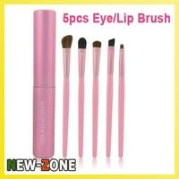Hot Best Quality Mini 5 pcs Makeup Eyes Brushes Set Cosmetic make up Eyeshadow Brush Animal Hair with Pink Cylinder case
