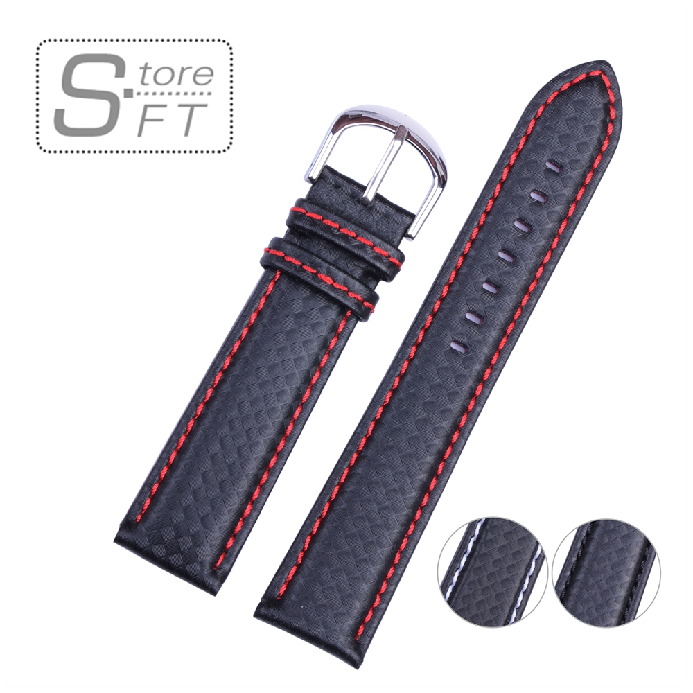 EACHE Classical Design Carbon Fiber Look With Genuine Leather inner Watchband Different Stitch Colors 18mm 20mm 22mm 24mm eache suede design special