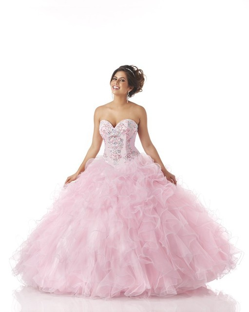 e0d4722012d Quinceanera Dresses Pink 2016 Sexy Beaded Ball Gown with Sweetheart  Neckline Ruffle Dress 15 Years New