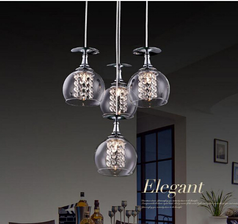 Modern G4 Gl Shade Crystal Pendant Lights Restaurant Lamps Indoor Contemporary Lighting Fixtures In From
