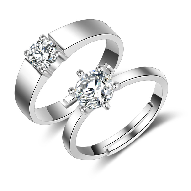 Romantic Promise Couple Rings Clear Shiny Crystal Wedding Band Engagement Party Ring Fashion 925 Sterling Silver Jewelry