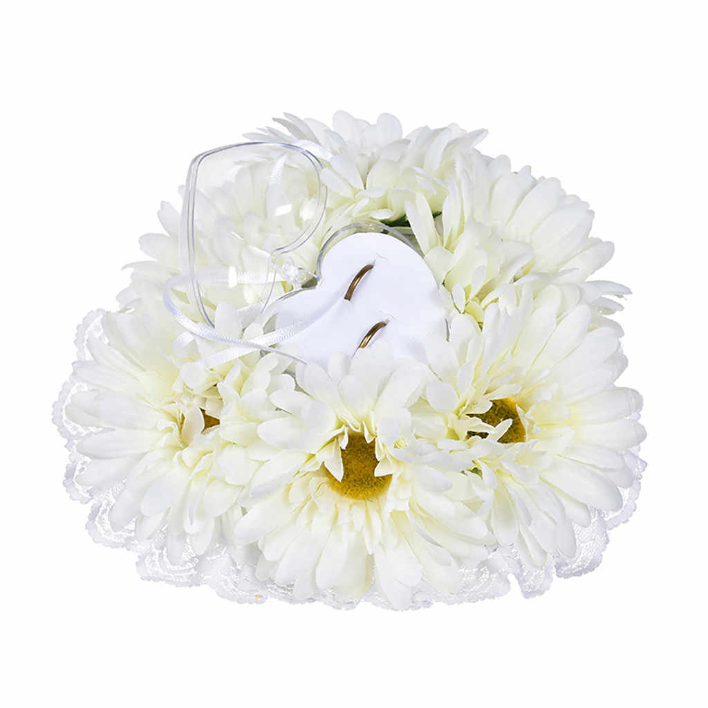 Wedding Decorations Heart-shape Flowers Valentine's Day Gift Ring Bearer Pillow Cushion Pincushion Ring Party Decoration 2019
