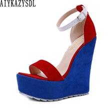 Женские босоножки на танкетке AIYKAZYSDL, туфли на очень высоком каблуке, обувь в стиле пэчворк, Клубная одежда, разные цвета