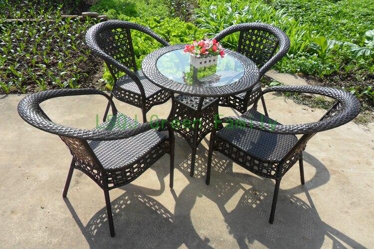 Patio rattan table chair outdoor garden rattan furniture for Outside garden furniture sale