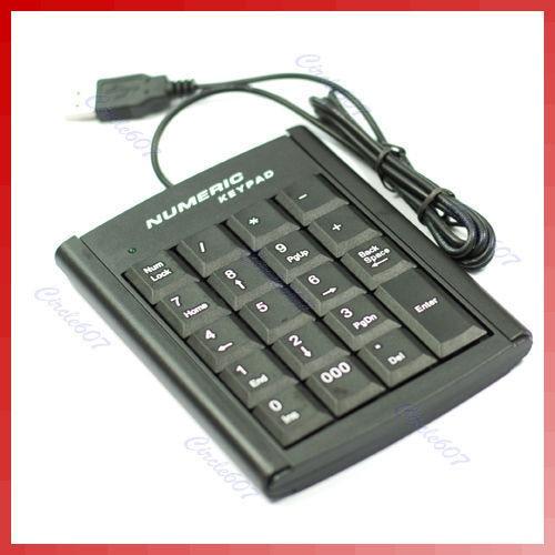 OOTDTY Mini USB Numeric Keypad Keyboard for Laptop PC 19 Keys