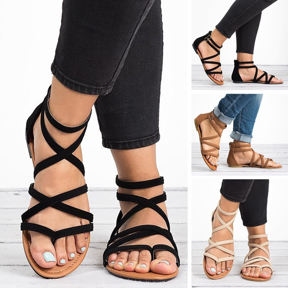 Casual Fashion Solid Shoes Woman Strappy Crisscross Gladiator Low Flat Heel Sandals Summer Wedge Ankle Strap Women Sandals