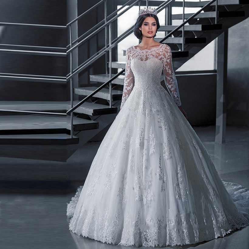 KKW891 Vestido de Noiva Ball Gown Princess Wedding Dress Lace Luxury Robe de Mariage Long Sleeves Vestidos de Novia