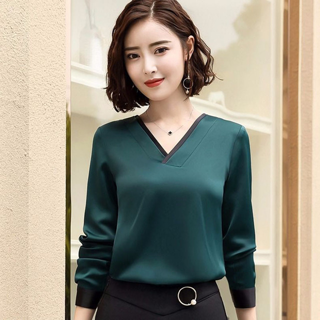 Women Chiffon Blouses V-Neck Zipper OL Long Sleeves Loose Shirt Blouse Blusa Feminina elegant solid color Plus Size DD2353 5
