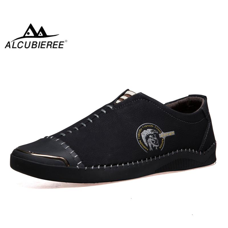 ALCUBIEREE Genuine Leather Men Loafers Men's Slip On Breathable Casual Shoes Men Moccasin Driving Shoes Fashion Men Boat Shoes men s crocodile emboss leather penny loafers slip on boat shoes breathable driving shoes business casual velet loafers shoes men