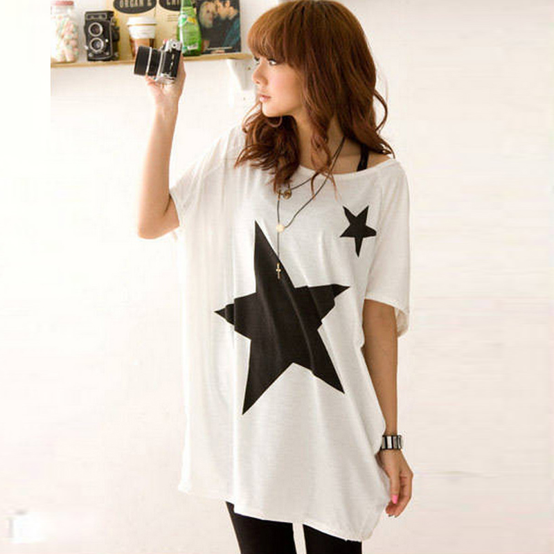 0450b5d6 Summer Oversized Loose T shirt Tops For Women Short Sleeve Five point Star  Patterns Print Baggy Tees New 2017 DP854784-in T-Shirts from Women's  Clothing on ...