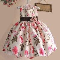 Neue 2018 Mädchen Sommer Kleid Rose Floral Tribute Silk Kinder Kleider Für Mädchen Geburtstag Partei Größe 1-6 T Vestidos Infantis