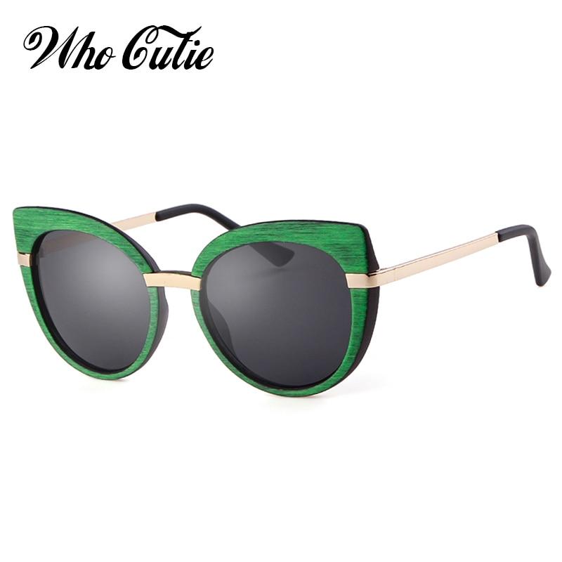 , Die Cutie 2018 Frauen Cat Eye Sonnenbrille Hohe Qualität Marke Designer Vintage-mode Holz Muster Cateye Sonnenbrille Shades Om717 Hindernis Entfernen