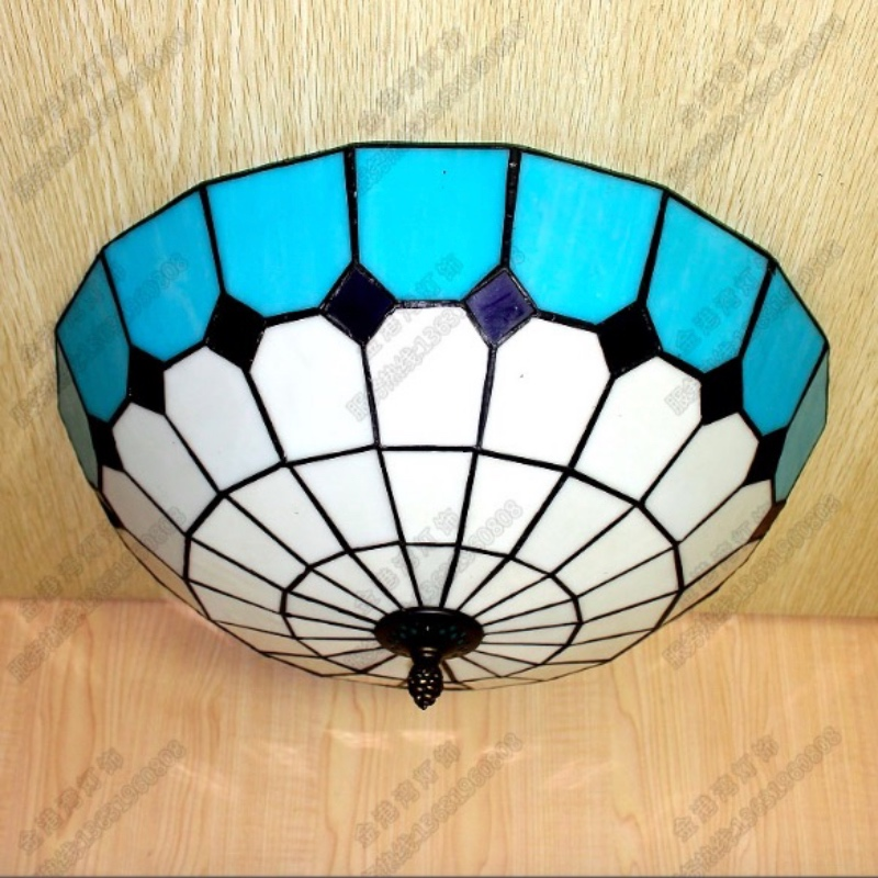 Vintage Tiffany Bohemia Handmade 5 Colors Glass Led E27 Ceiling Light for Living Room Bedroom Aisle Balcony Dia 30/40cm 1635