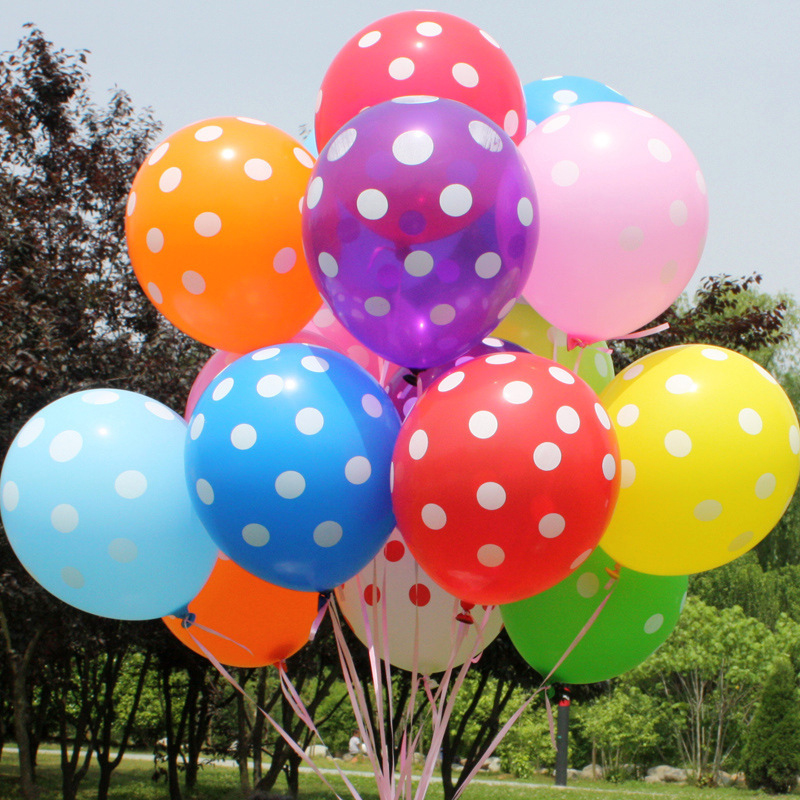 10pcs lot happy birthday balloon 12 latex polka dot for Balloon decoration birthday party chennai