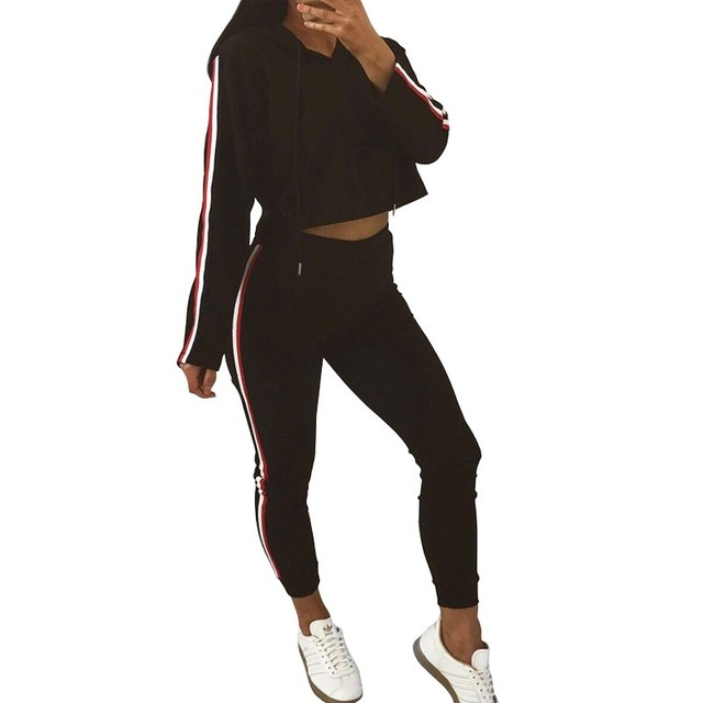 2 Piece Set Top And Pants Sexy Striped Ladies Leisure Two Pieces Pullover Suits 1