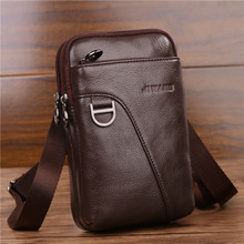 YIANG Men's Genuine Leather Cross Body Single Shoulder Bags Men's Fashion Mini Casual Messenger Belt Bag Mobile Phone Pouch 2018