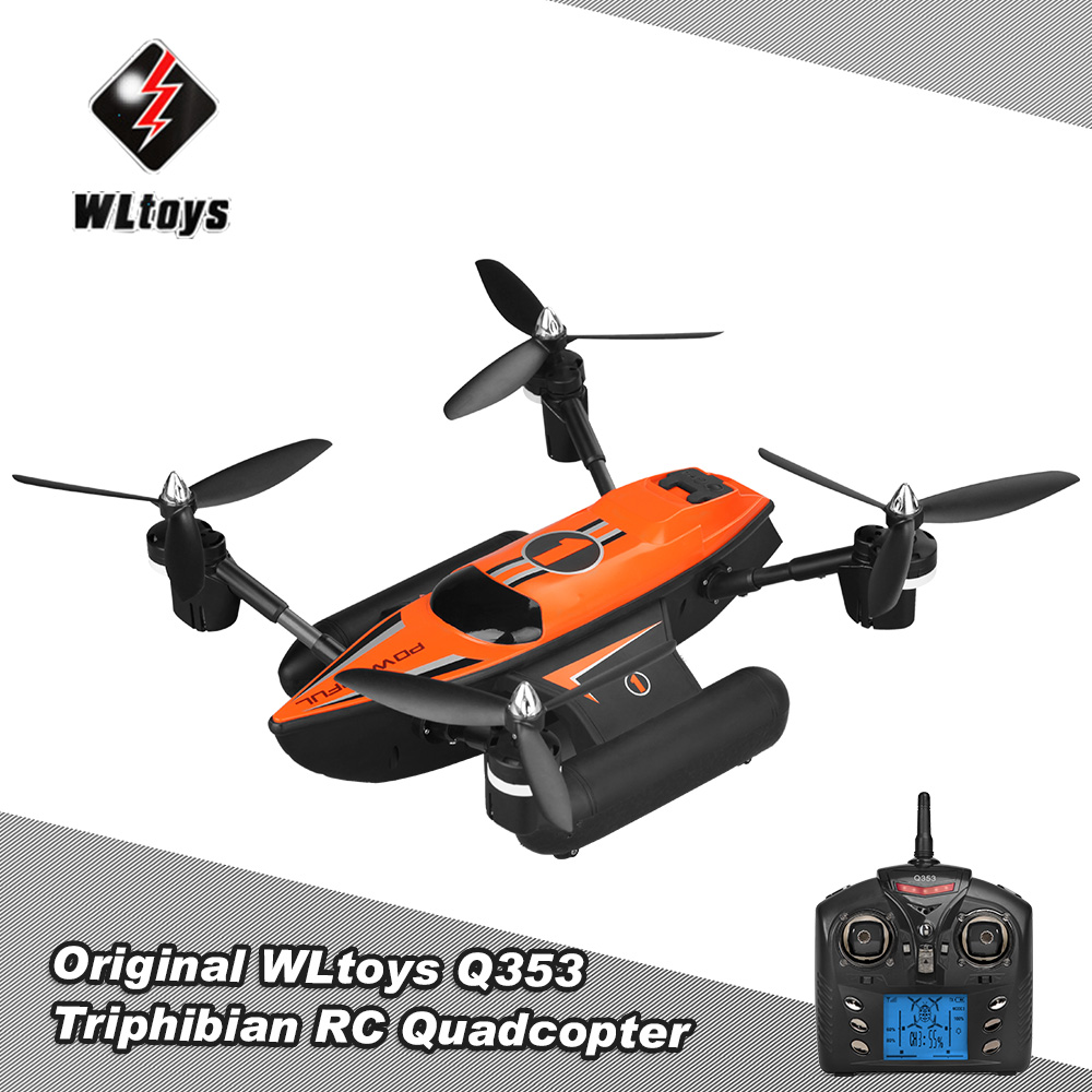 Original WLtoys Q353 Triphibian 2.4G 6-Axis Gyro Air-Ground-Water RC Quadcopter Headless Mode RTF Drone Professional Helicopter wltoys q353 aeroamphibious rc drone air land sea mode 3 in 1 waterproof headless mode 2 4g led quadcopter headless mode toys rtf