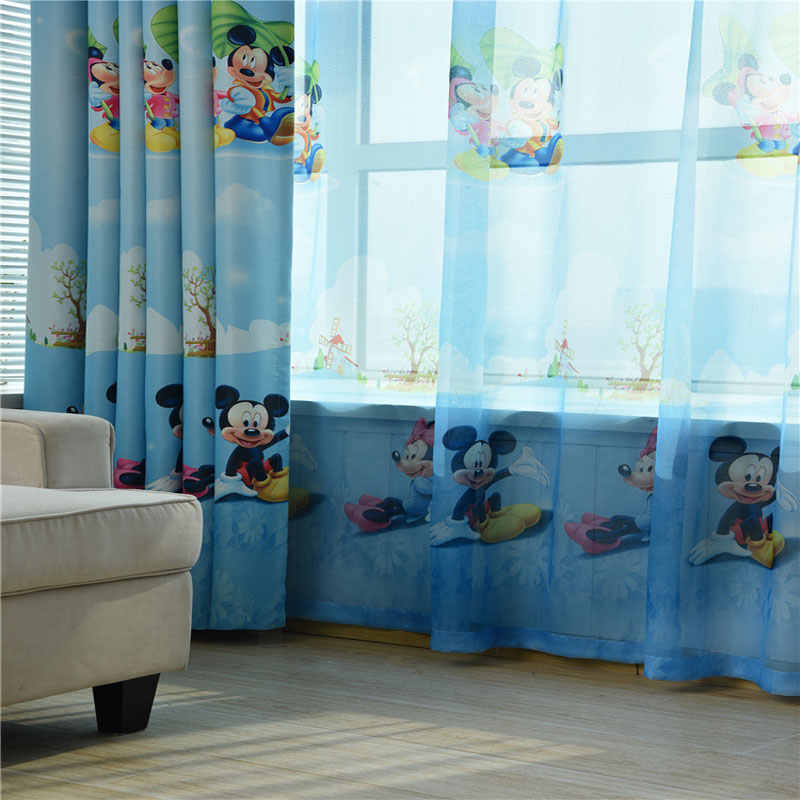 New blue Mickey Mouse print children\'s curtains boys bedroom children\'s  room window pure customizable curtains