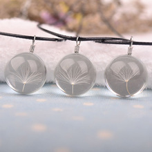 Fashion Necklaces Real Dandelion Crystal Necklace Glass Round Pendants Choker Women Jewelry Gift