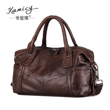 Genuine  Leather handbag 100% Real Cow Leather 2017 summer new women shoulder bag  European and American fashion splice packages