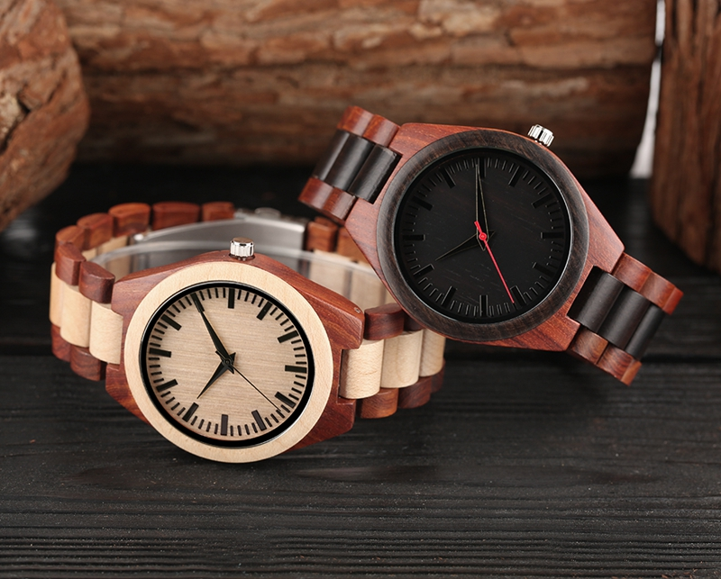 YISUYA Men's Ebony Wooden Watch Wood Strap Quartz Analog Creative Wristwatch Simple Nature Bamboo Male Watches Clock saat (24)