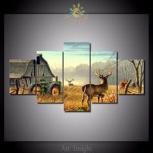Фотография 5 Pieces/set Whitetail Deer Farm Wall Art Paintings Picture Print on Canvas for Home Decoration Wall Art Picture for Living Room