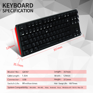 Image 5 - HEXGEARS GK707 87 Key Gamer Mechanical Keyboard Kailh BOX Switch Hot Swap Anti Ghosting White LOL Gaming Keyboard For PC/Mac/Lap