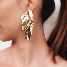 MANILAI Irregular Metal Stud Earrings For Women Fashion Statement Big Earrings Jewelry Gift Golden Silver Color 2019 Accessories