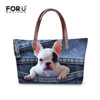 FORUDESIGNS shopping festival FORUDESIGNS Women Tote bag Crossbody Bags for Women Cute French Bulldog Denim Jeans Handbag