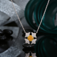 Exquisite 0.26ct Cushion Fancy Diamond And white Diamond 18KT Mul ti Tone Gold Pendant Necklace