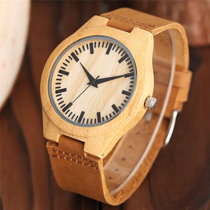 YISUYA fa karóra férfiak minimalista csuklós óra divat bambusz fa - Férfi órák - Fénykép 2