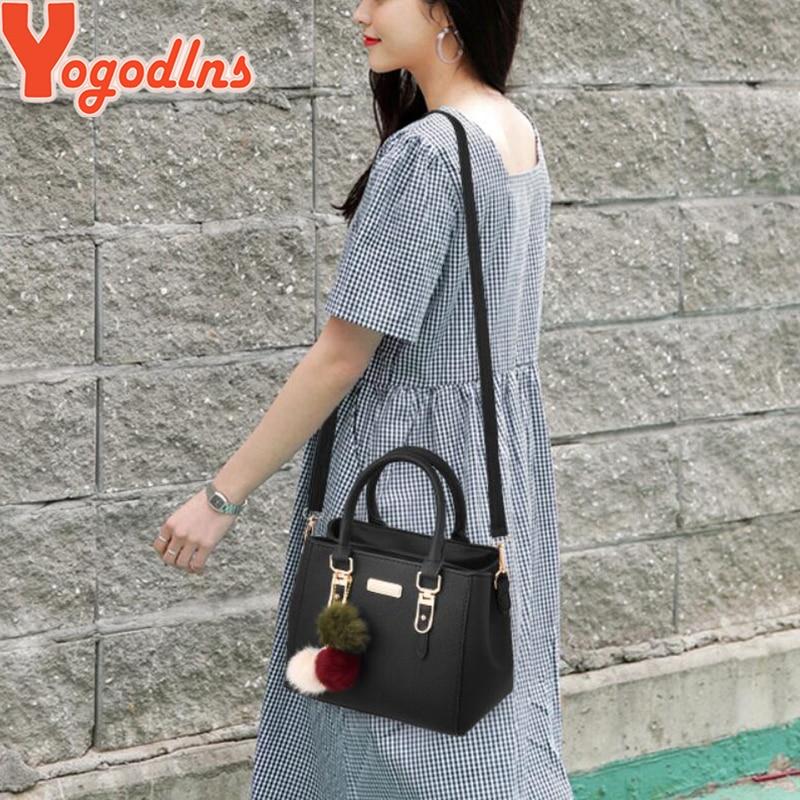 Yogodlns Women Beading Pendant Handbag Ladies Embossed Shoulder Bag Messenger Hairball Bags High Quality