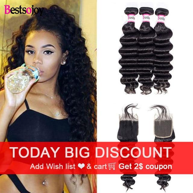 Bestsojoy Losse Diepe Golf Virgin Human Hair 3 Bundels Met Sluiting Braziliaanse Haar Weefsel Bundels Met Sluiting Nat En Golvend