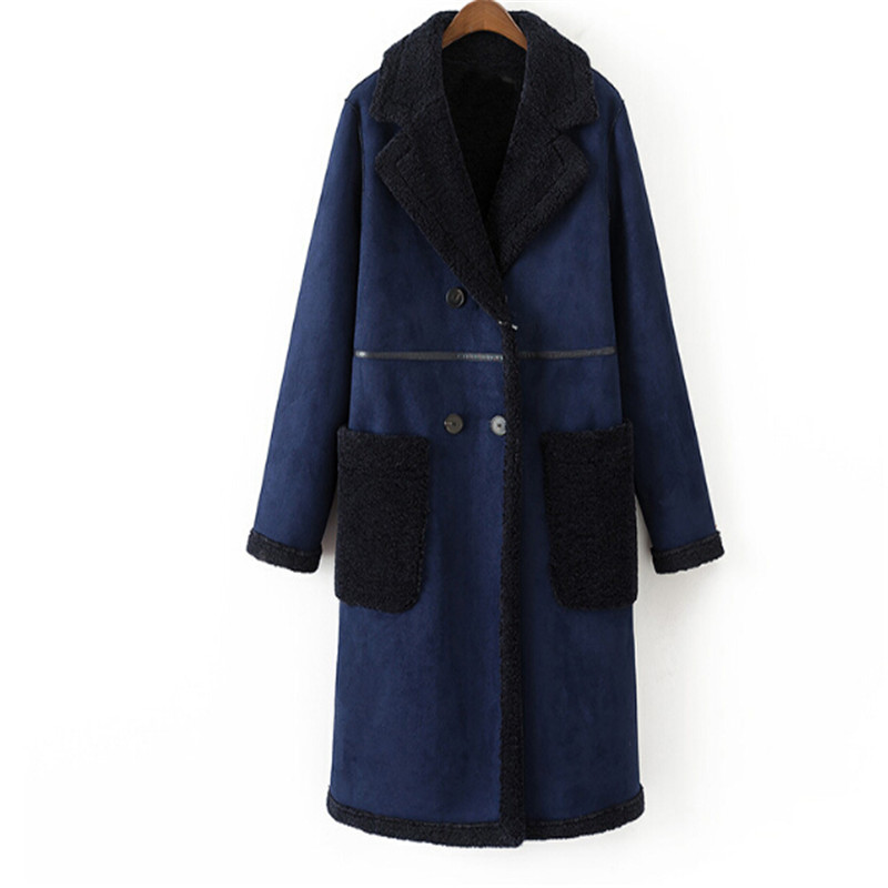 2018 Womens Winter Coat Women Fashion Elegant Double Breasted Lamb Wool Thick Warm Long Faux   Suede   Coat
