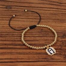 Trendy Copper Beads Handmade Bracelet Women Miyuki Weave Lucky Letter Charm Pendant Bracelets Female Friendship Pulsera