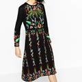 2017 Spring  Evening Party Women Floral Embroidery Dresses O Neck Long Sleeve Black Sundress Brand vestidos Maxi Dress BBWM16178