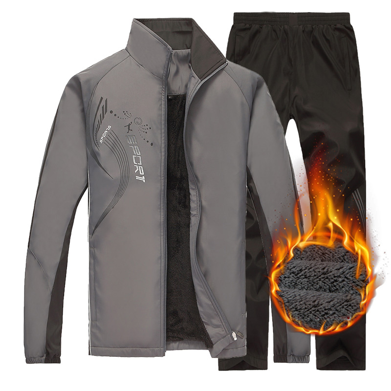 JEASS Winter Sport Suits Men Fleece Outdoor Warm Running Suits Men Jogging Suits Mens Fitness Workout Sportwear Mens Tracksuits