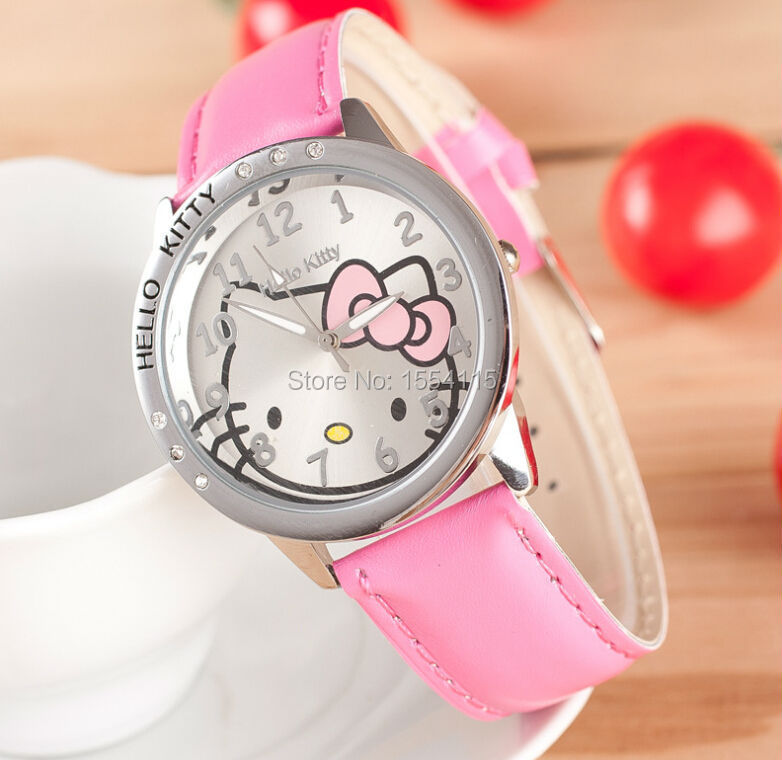 a177ac360 DHL Free Shipping New Arrival Children leather Watch Hello Kitty Watch Hot  Sell Christmas Gift Watch Wholesale