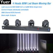 4 головки 80 Вт Led мини-пучок движущийся головной свет RGBW или белый цвет 4 шт. 8 Вт led лампа DMX контроллер Professional осветительное оборудование ди-джеев