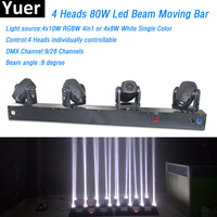 4 Heads 80W Led Mini Beam Moving Head Light RGBW Or White Color 4pcs 8W led lamp DMX Controller Professional Stage DJ Lighting