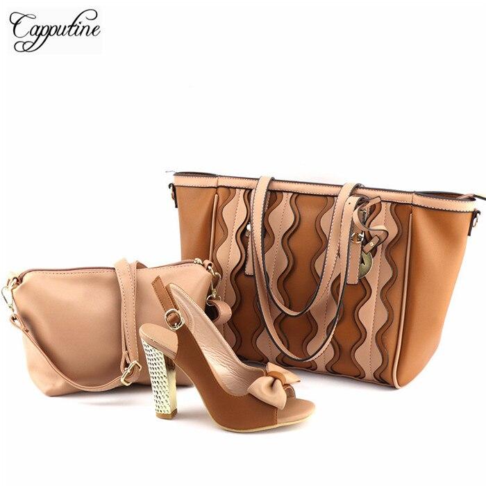 Отличный дизайн высокий каблук сандалии обувь, кошелек и сумка комплект с бантом дизайн jy2018-01 коричневый, 3 шт. в комплекте